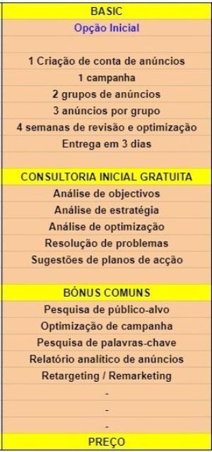 Plano de preços de publicidade online Basic